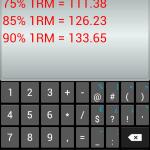 Wendler calc screen, with PR data